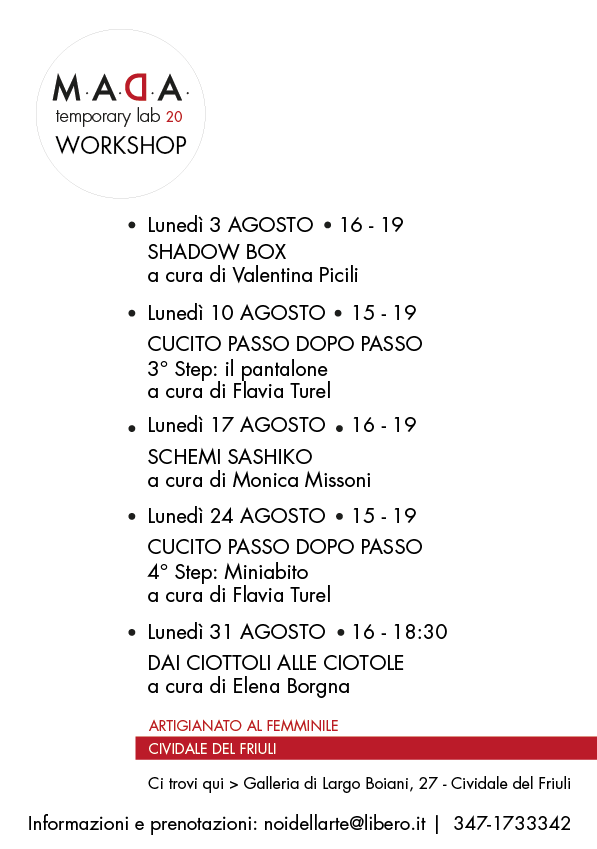 workshop cividale del friuli agosto 2020