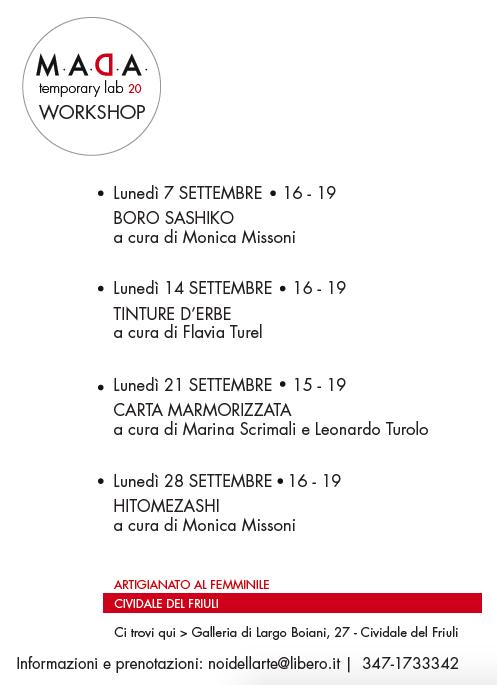 workshop cividale del friuli settembre 2020